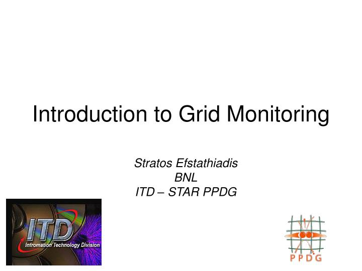 Introduction to grid monitoring
