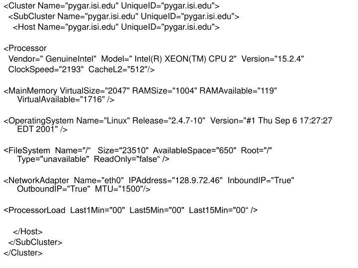 """<Cluster Name=""""pygar.isi.edu"""" UniqueID=""""pygar.isi.edu"""">"""