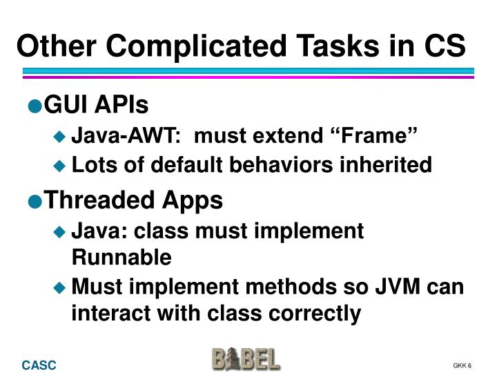 Other Complicated Tasks in CS