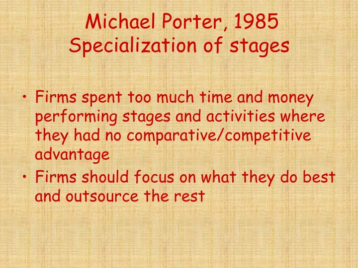 Michael Porter, 1985