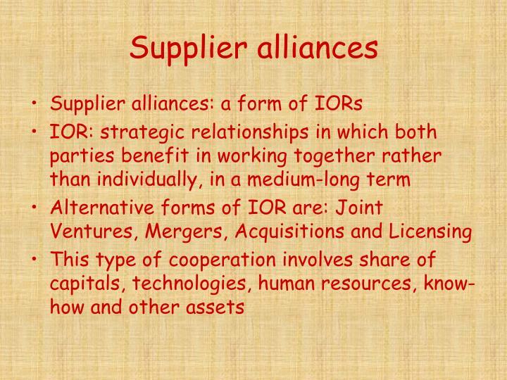 Supplier alliances