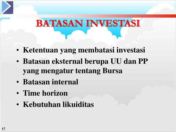 Ketentuan yang membatasi investasi