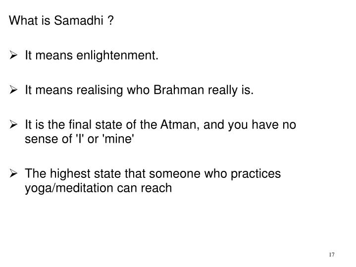What is Samadhi ?