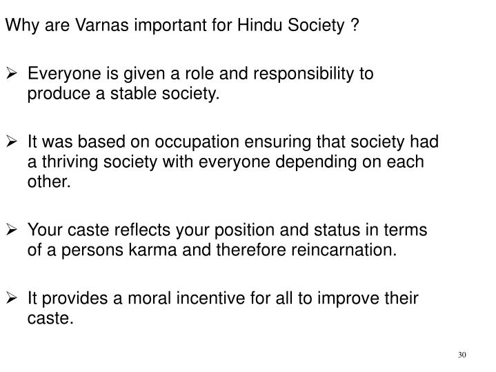 Why are Varnas important for Hindu Society ?