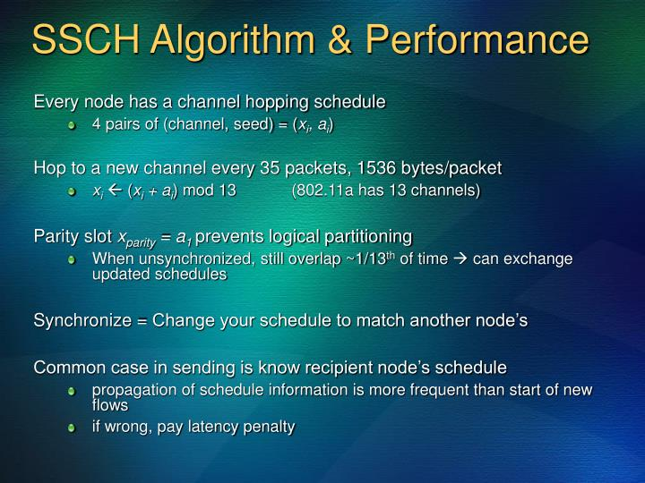 SSCH Algorithm & Performance