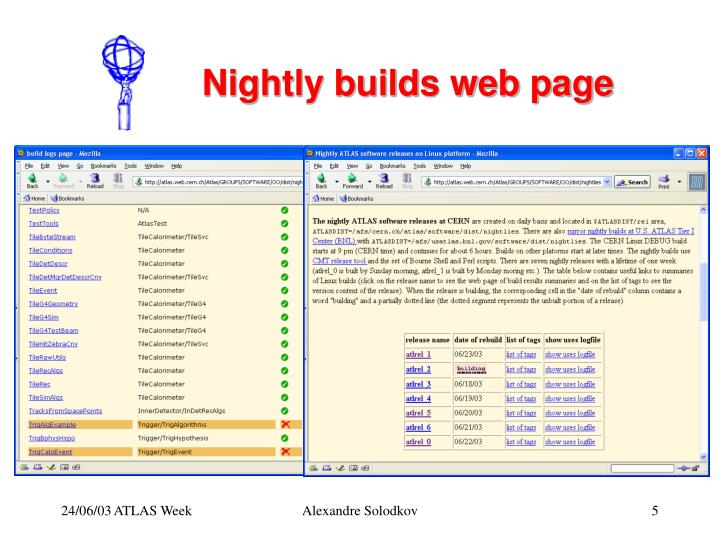 Nightly builds web page
