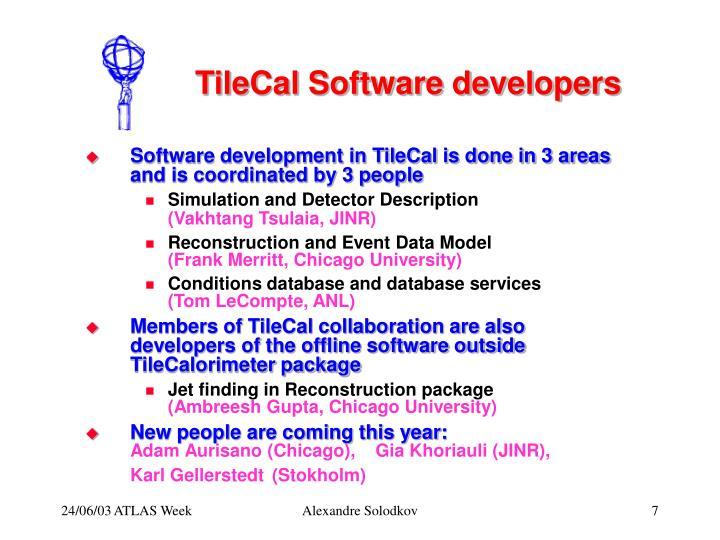 TileCal Software developers