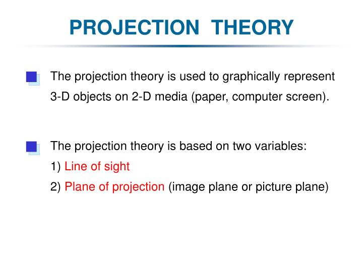 The projection theory is used to graphically represent