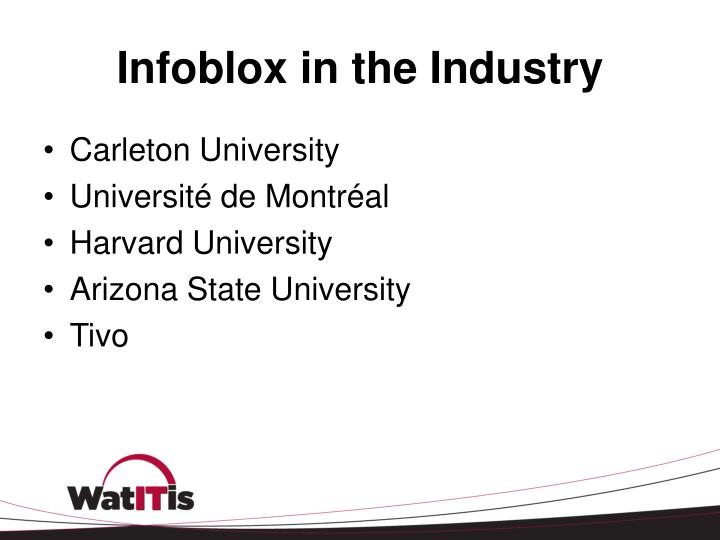Infoblox in the Industry