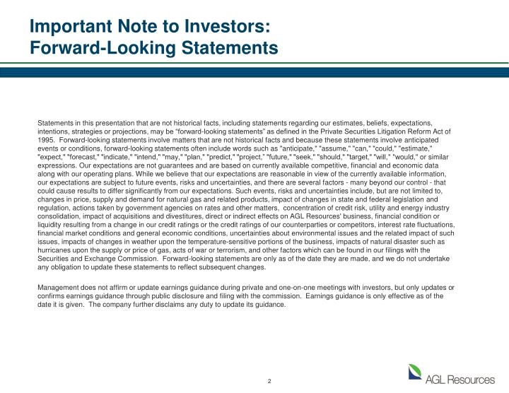 Important note to investors forward looking statements