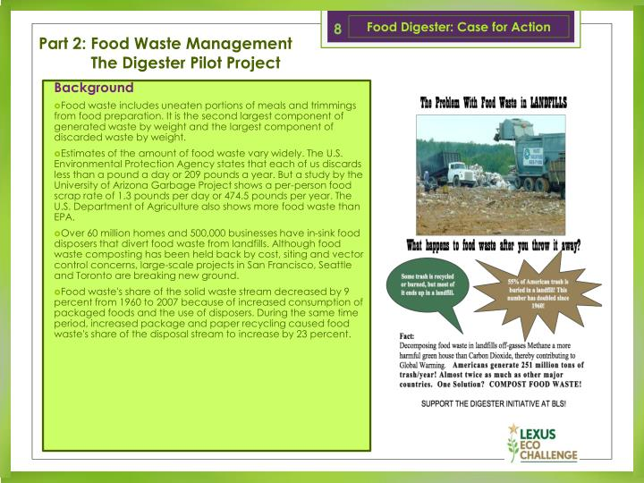 Food Digester: Case for Action