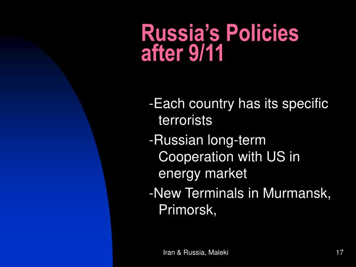 Russia's Policies after 9/11