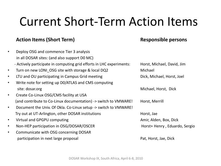 Current Short-Term Action Items