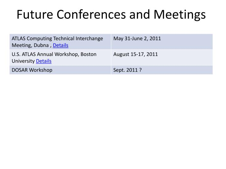 Future Conferences and Meetings