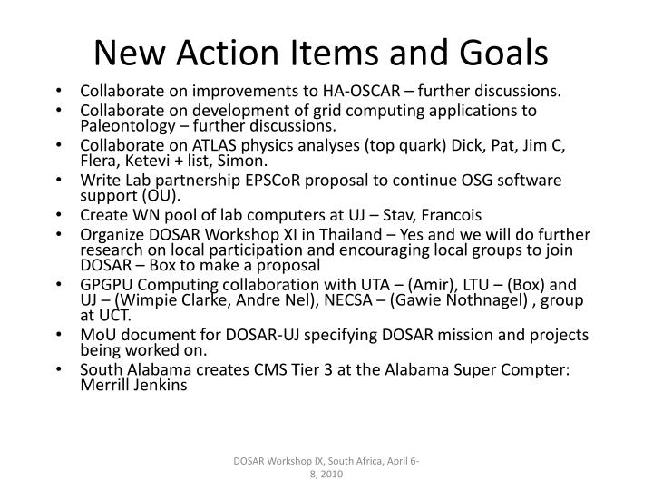 New Action Items and Goals