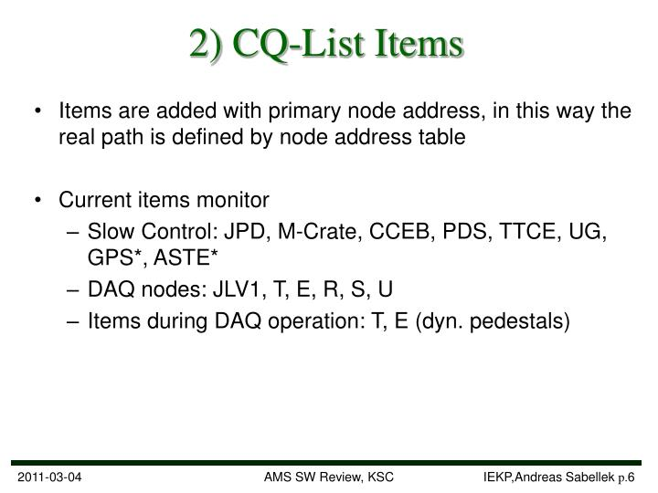 2) CQ-List Items