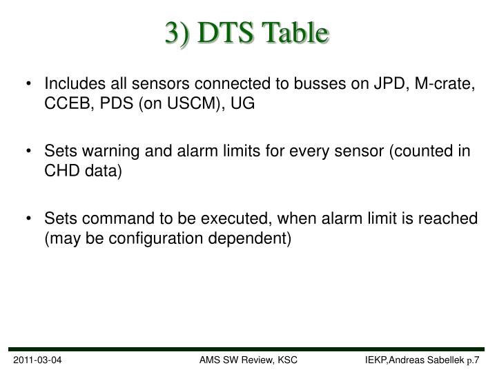 3) DTS Table