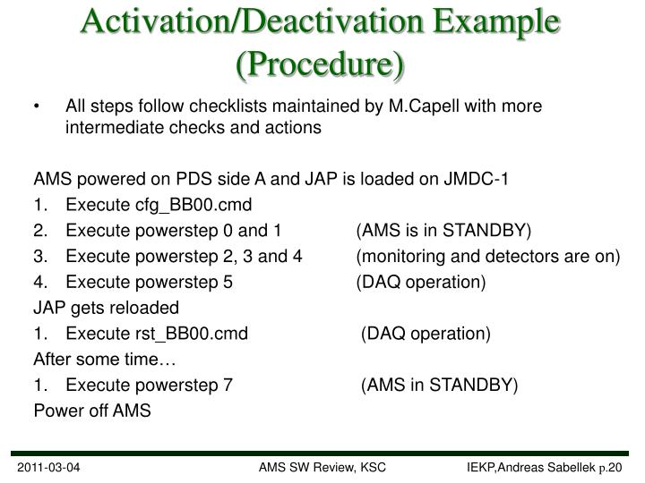 Activation/Deactivation Example (Procedure)