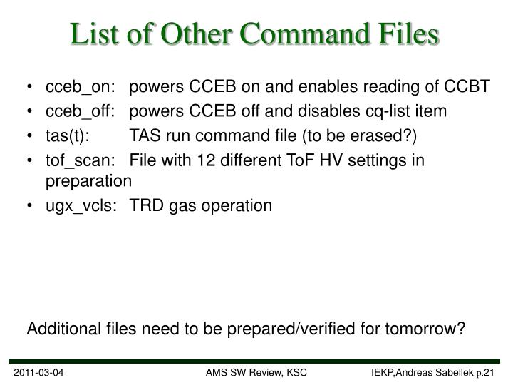 List of Other Command Files