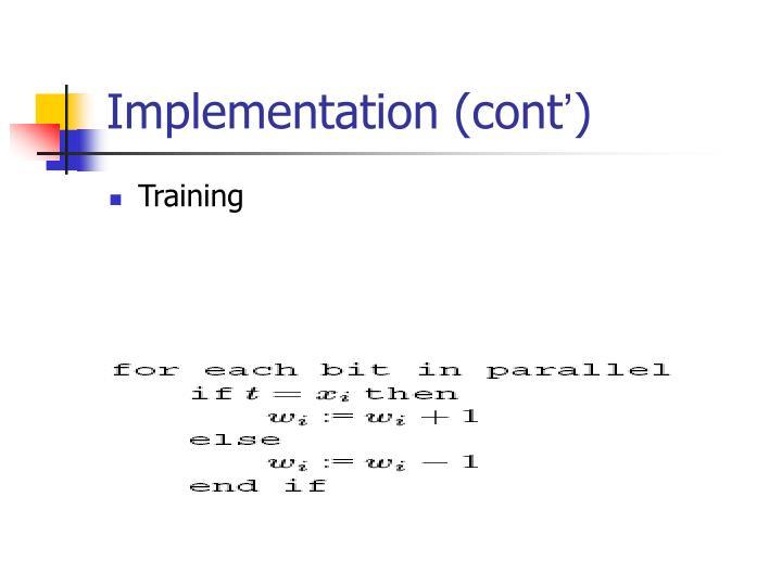Implementation (cont