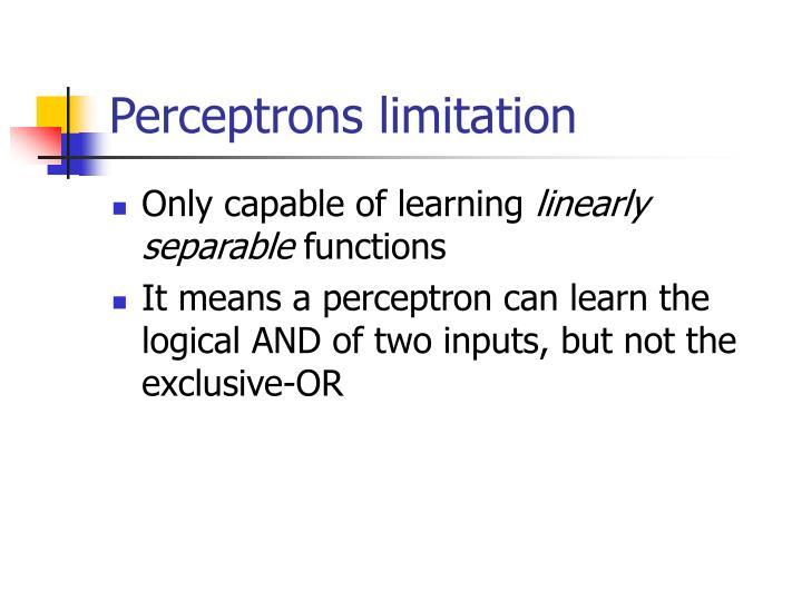 Perceptrons limitation