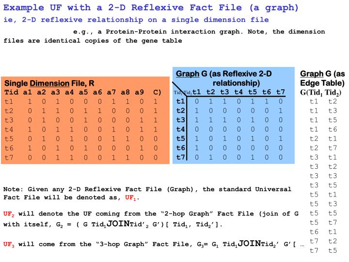 Example UF with a 2-D Reflexive Fact File (a graph)