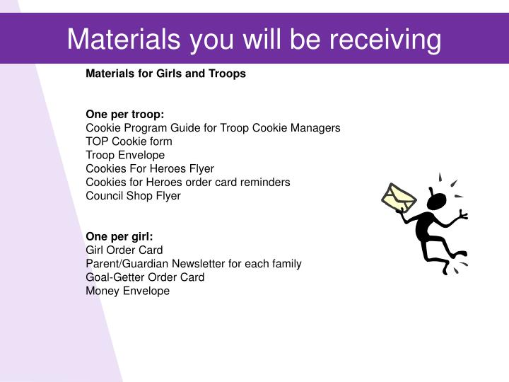 Materials you will be receiving