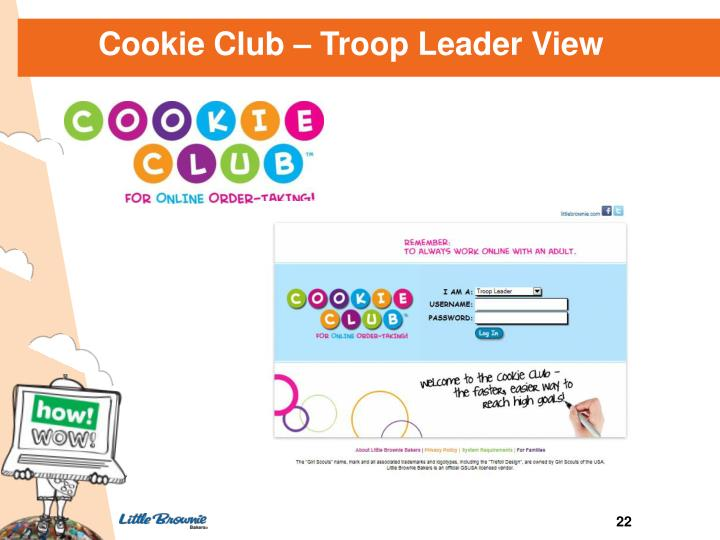 Cookie Club – Troop Leader View