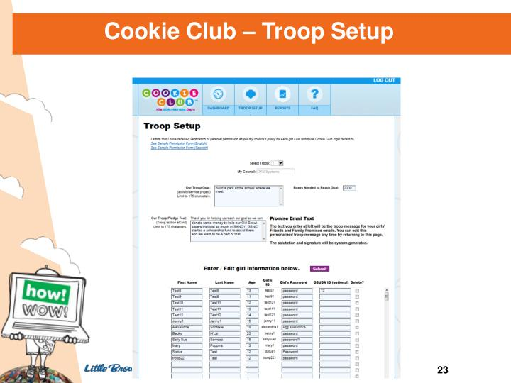 Cookie Club – Troop Setup