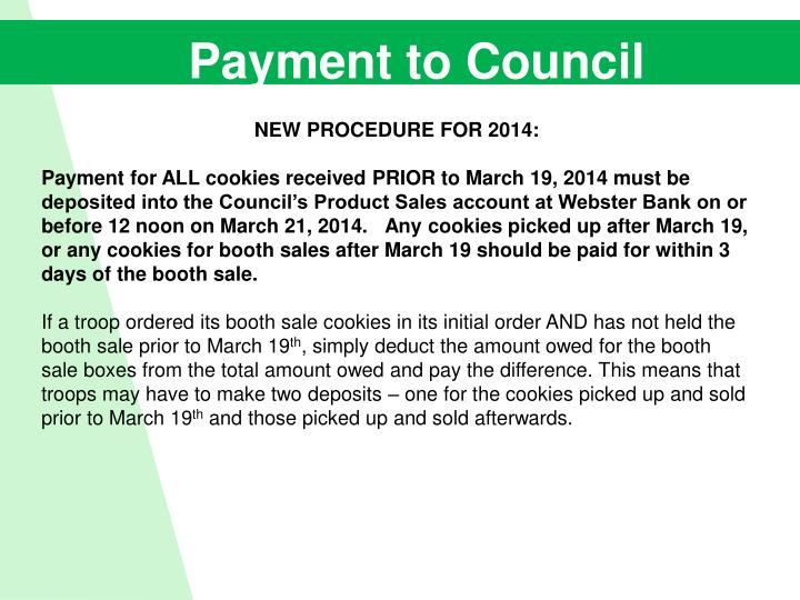 Payment to Council