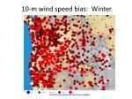 10 m wind speed bias winter