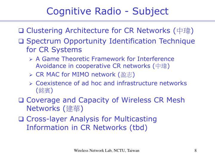 Cognitive Radio - Subject