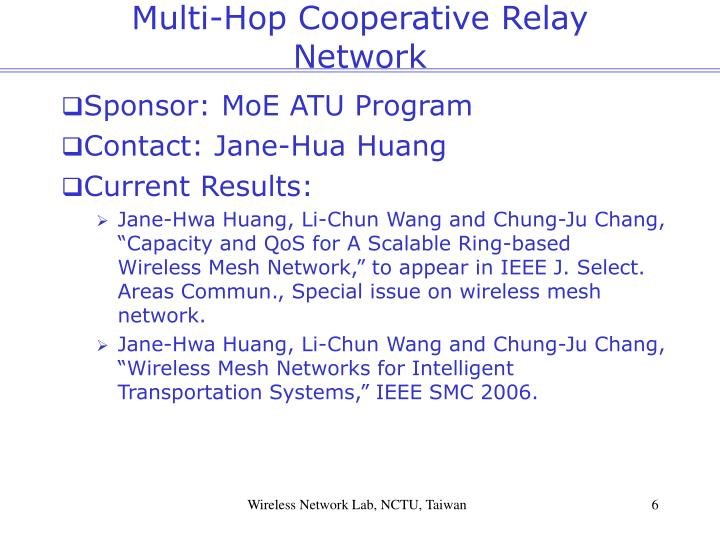 Multi-Hop Cooperative Relay Network
