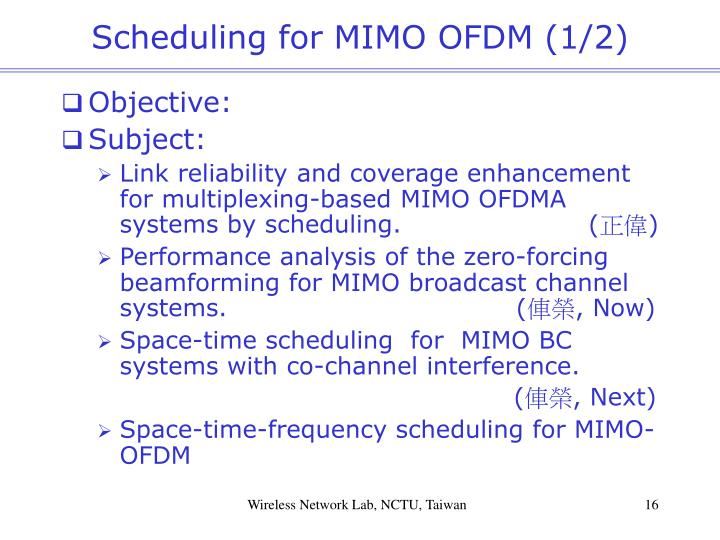 Scheduling for MIMO OFDM (1/2)