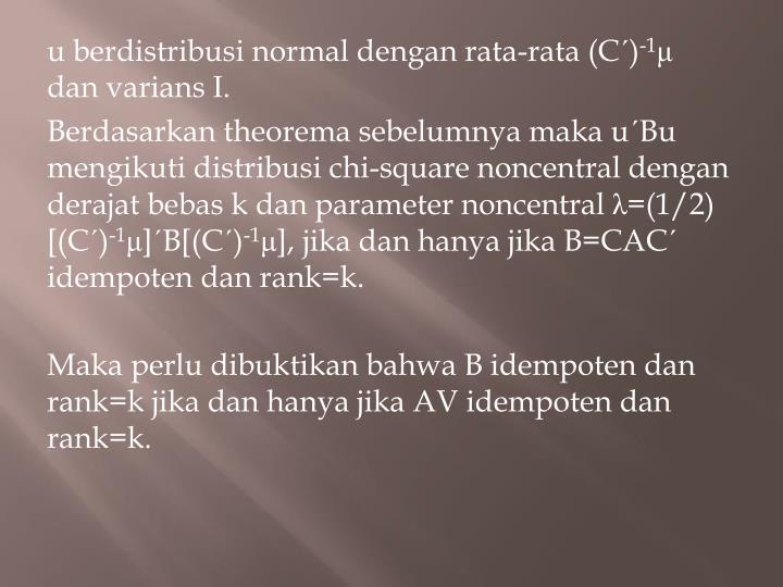 u berdistribusi normal dengan rata-rata (C