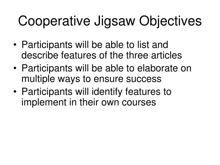 Cooperative Jigsaw Objectives