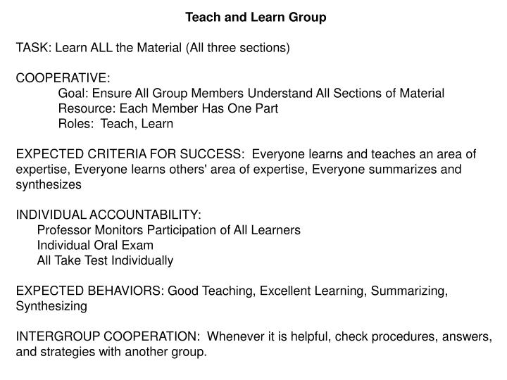 Teach and Learn Group