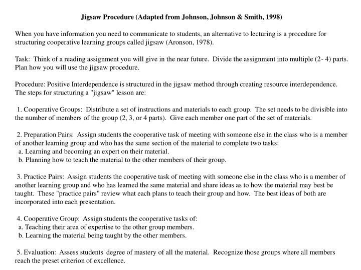 Jigsaw Procedure (Adapted from Johnson, Johnson & Smith, 1998)