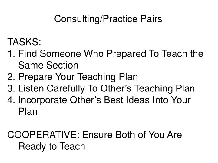 Consulting/Practice Pairs