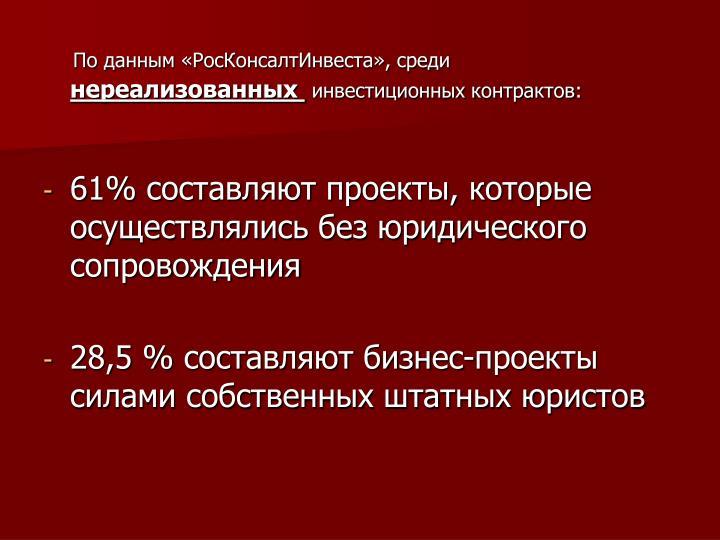 По данным «РосКонсалтИнвеста», среди