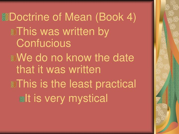 Doctrine of Mean (Book 4)