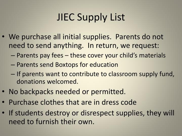 JIEC Supply List