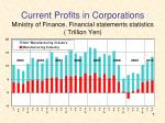 current profits in corporations ministry of finance financial statements statistics trillion yen