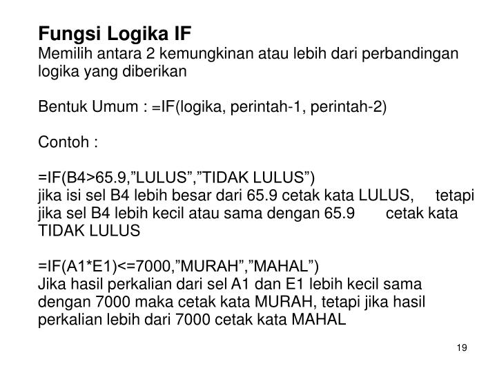 Fungsi Logika IF