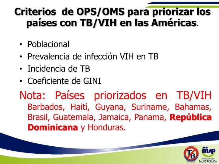 Criterios  de OPS/OMS para priorizar los países con TB/VIH en las Américas