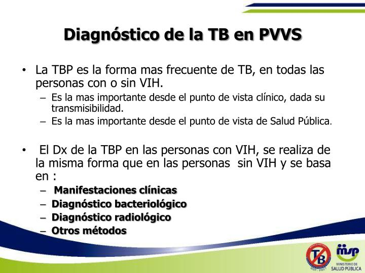 Diagnóstico de la TB en PVVS