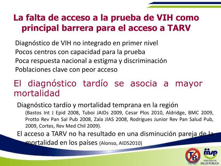 La falta de acceso a la prueba de VIH como principal barrera para el acceso a TARV