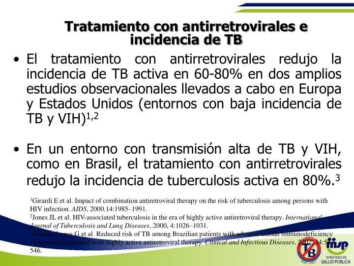 Tratamiento con antirretrovirales e incidencia de TB