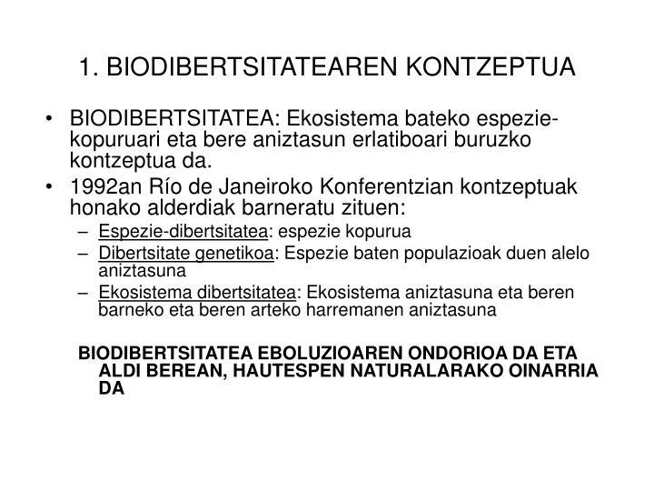 BIODIBERTSITATEA: Ekosistema bateko espezie-kopuruari eta bere aniztasun erlatiboari buruzko kontzeptua da.