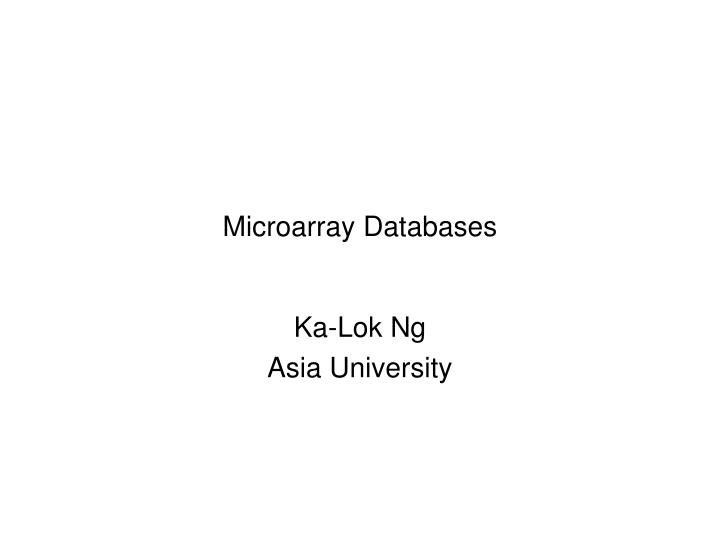 Microarray databases